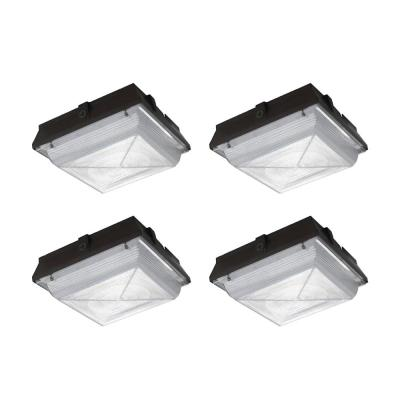350-Watt Equivalent Integrated LED Security Area Light, 5200 Lumens, Ceiling/Canopy Outdoor Security Lighting (4-Pack)