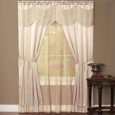 Sheer Halley Ivory Window Curtain Set - 56 in. W x 63 in. L