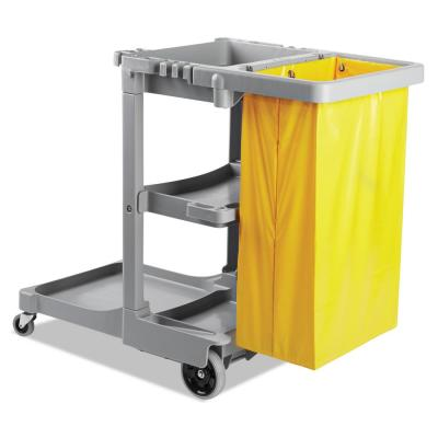 22 in. W x 44 in. D x 38 in. H Gray Polyethylene Janitor Cart (3-Shelf)