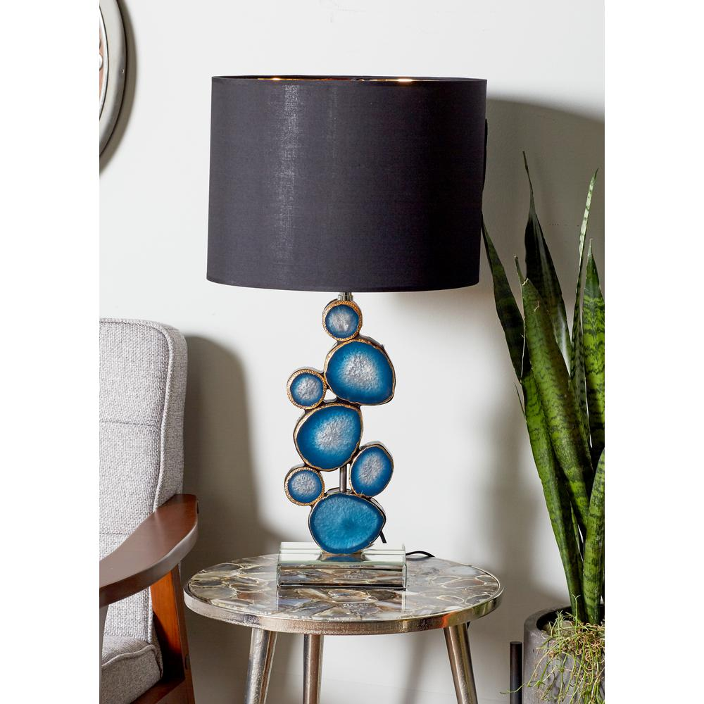 Blue Stacked Circles Design Table Lamp With Black Resin Shade 87393