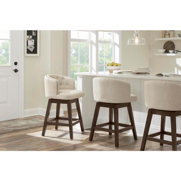 Home Decorators Collection Bardell Swivel Upholstered Counter Stool With Biscuit Beige Seat And Barrel Back 20 In W X 40 In H 4113 26 Biscuit The Home Depot