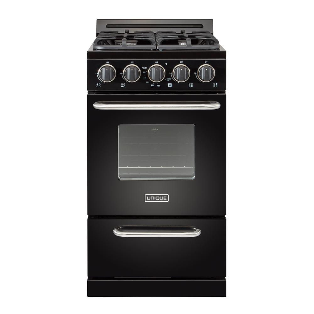 Unique 20 in 2.4 cu. ft. Propane Gas Off-Grid Range with Battery Ignition  Sealed Burners in Black
