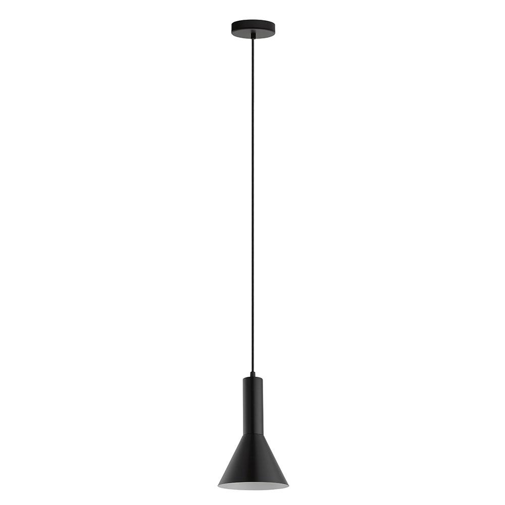 Eglo Canalello 1-Light Black Exterior and White Interior Mini Pendant