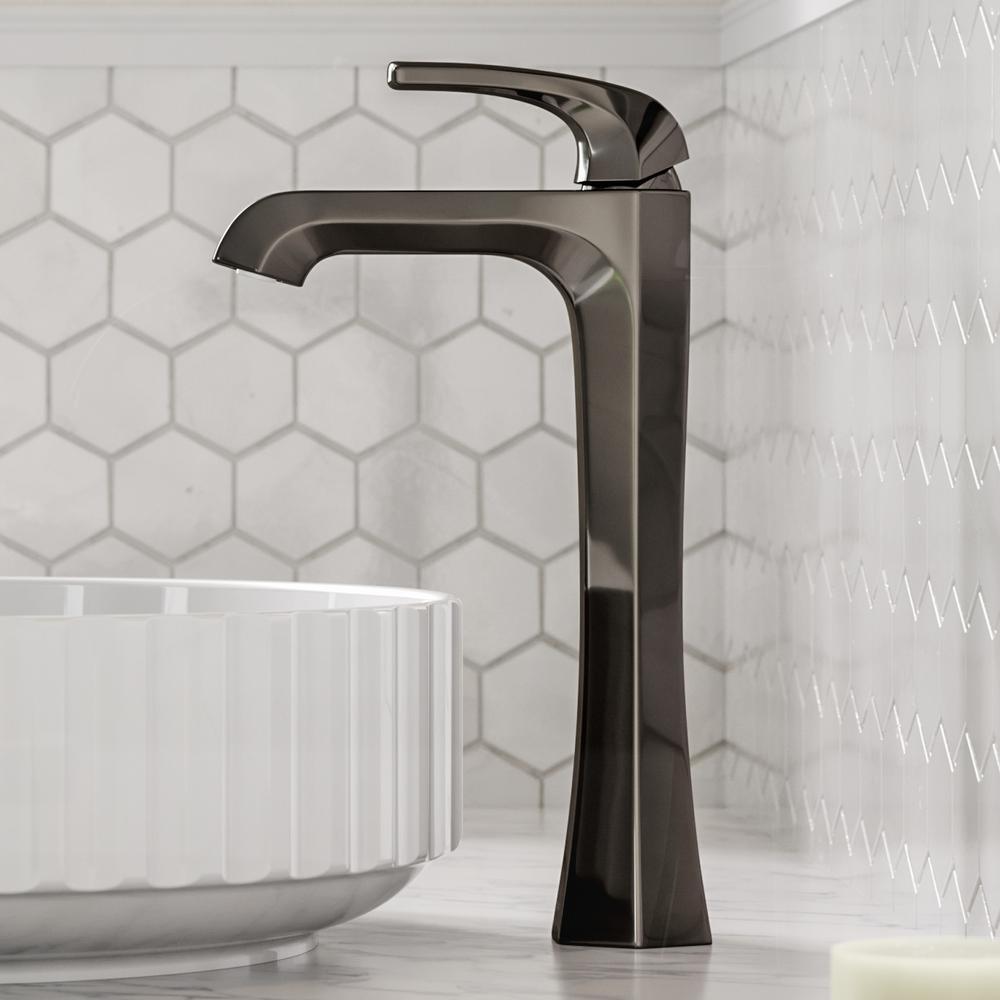 Esta Single Hole Single-Handle Vessel Bathroom Faucet with Pop-Up Drain in Gray