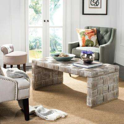 Adkin Rattan White Wash Coffee Table