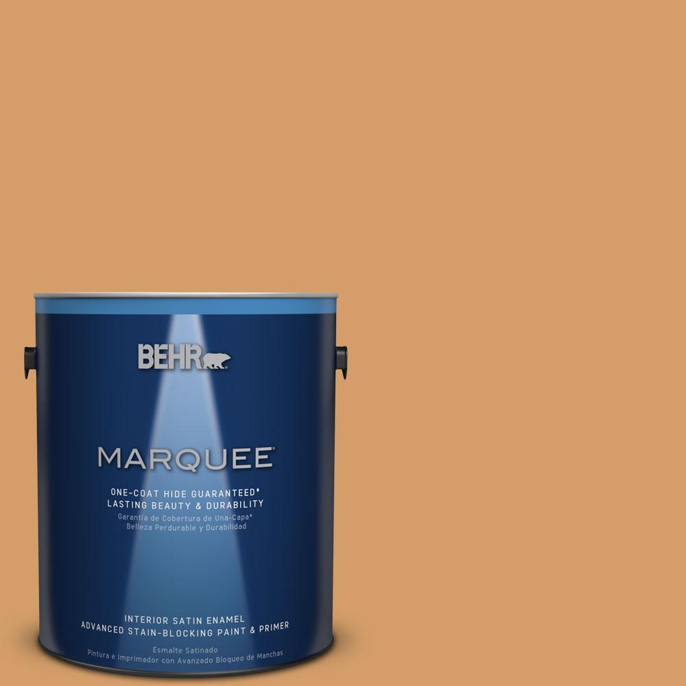 1 gal. #MQ4-8 Golden Aura One-Coat Hide Satin Enamel Interior Paint