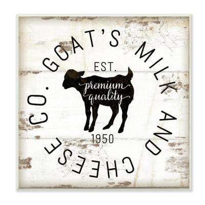 "12 in. x 12 in. ""Goat Milk and Cheese Co Vintage Sign"" by Jennifer Pugh Printed Wood Wall Art"