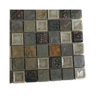 Roman Selection Emperial Slate With Deco Glass Floor and Wall Tile - 6 in. x 6 in. Tile Sample