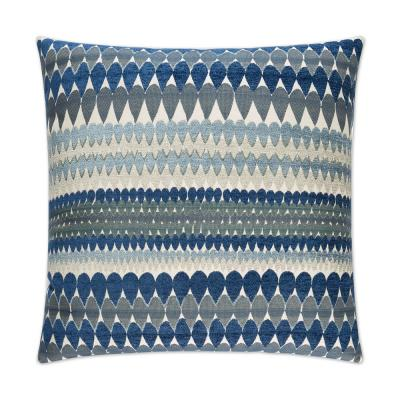 Stormy Blue Geometric Down 24 in. x 24 in. Throw Pillow