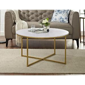 2 Walker Edison Furniture Company 36 In Faux Marble Gold Coffee Table