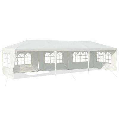 10 ft. x 30 ft. White Party Wedding Tent Canopy Heavy-Duty Pavilion 5 Sidewall