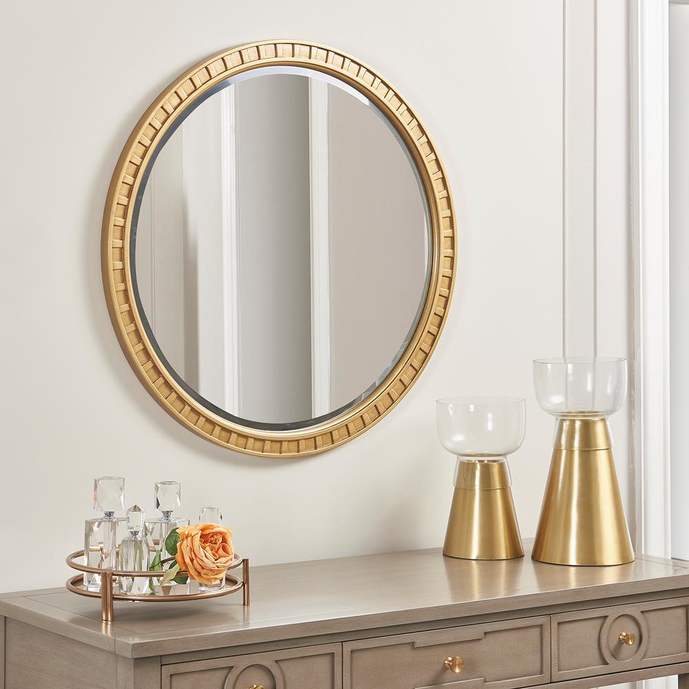 Dauphin Golden Oak Round Gold Accent Wall Mirror