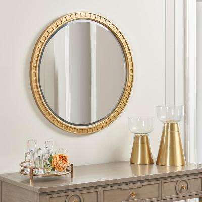 Dauphin Golden Oak Round Gold Accent Wall Mirror