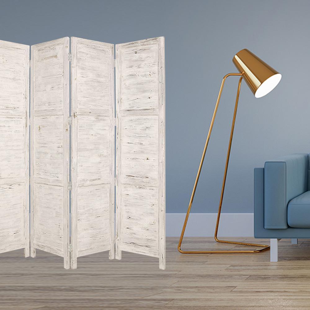 HomeRoots Mariana 7 ft. White 4-Panel Screen Divider