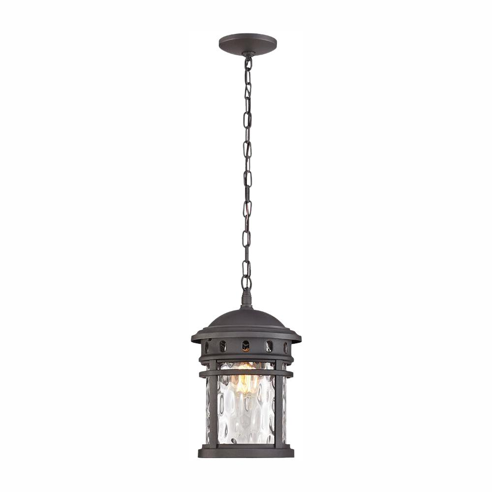 Home Decorators Collection 1 Light Black Outdoor Pendant
