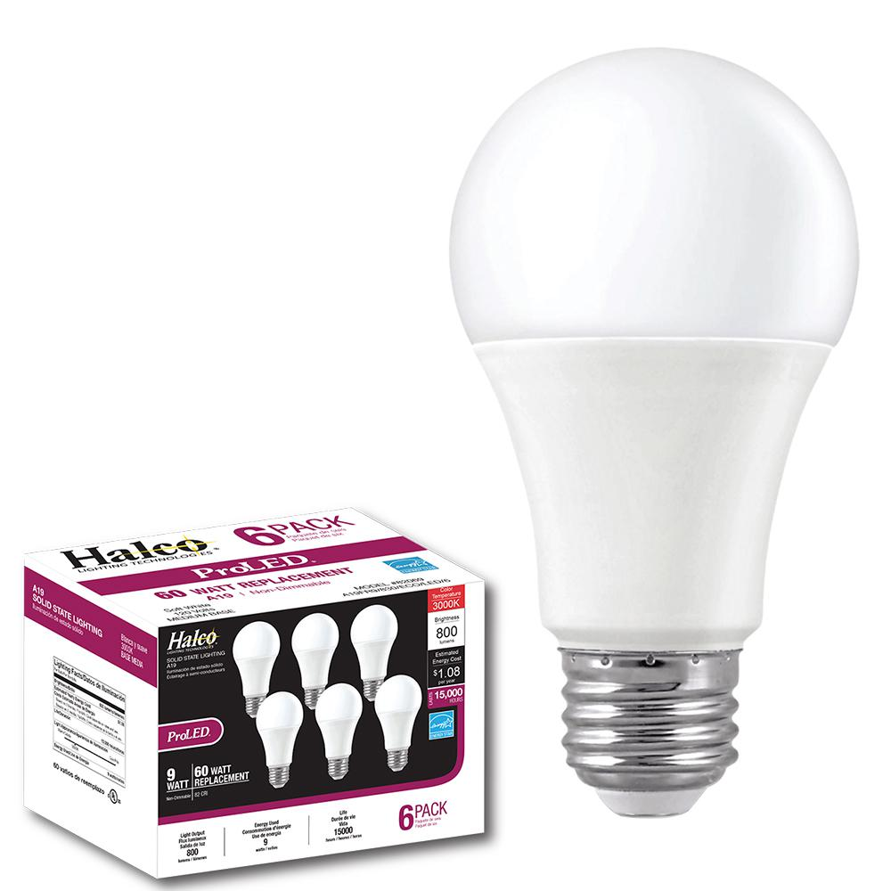 Halco Lighting Technologies Contractor Pack 60 Watt Equivalent 9 A19 Non Dimmable Led Warm White 2700k Light Bulb 6 82071