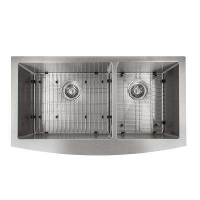 Farmhouse/Apron Stainless Steel 36 in. Double Bowl Kitchen Sink