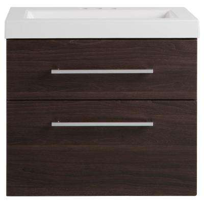 Larissa 24 in. W x 19 in. D Wall Hung Bathroom Vanity in Elm Ember with Cultured Marble Vanity Top in White with Sink