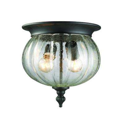 Lawrence 2-Light Black Outdoor Vintage Flush Mount with Clear Seeded Globe Glass Shade