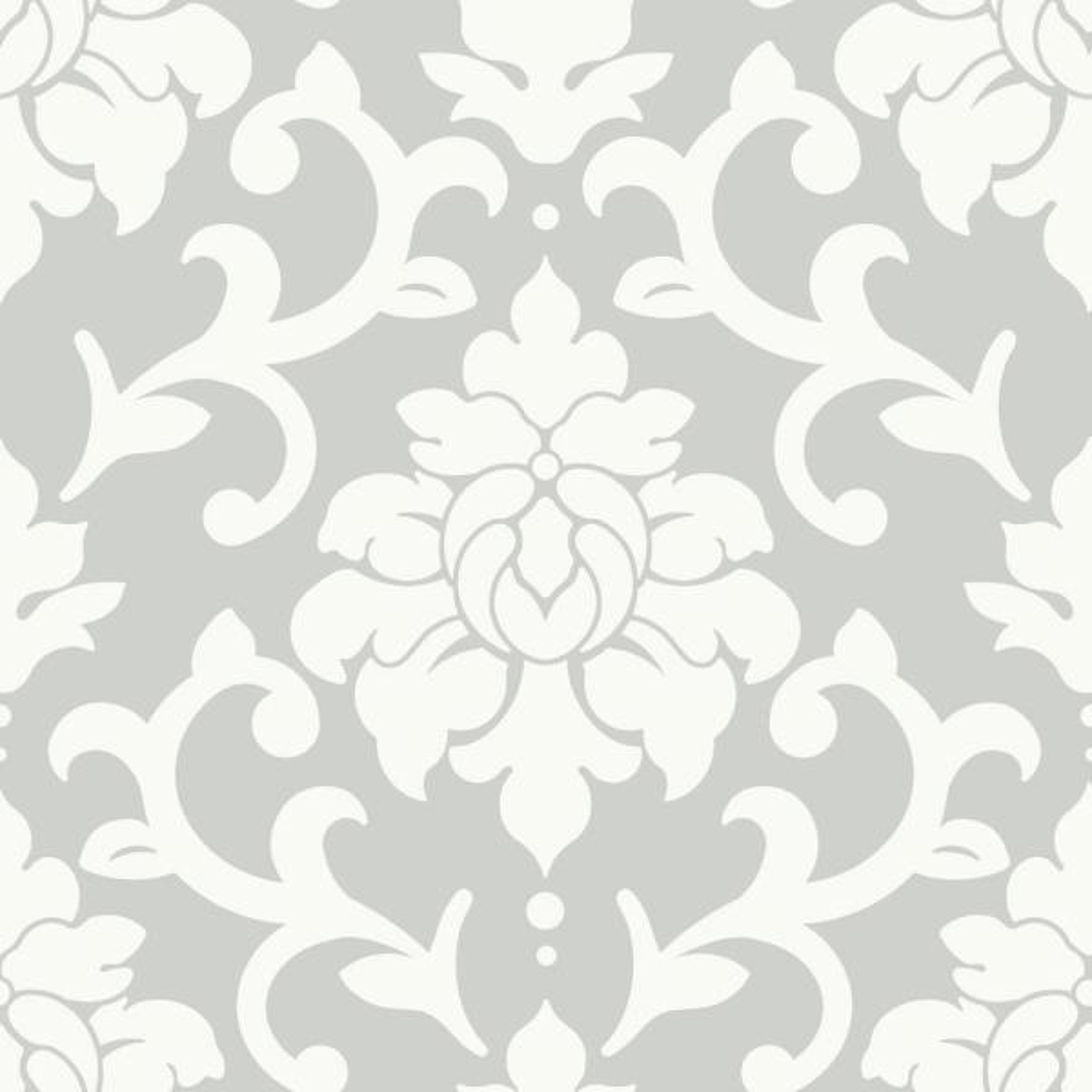 RoomMates 28.18 sq. ft. Grey Damask Peel and Stick Wallpaper RMK9112WP
