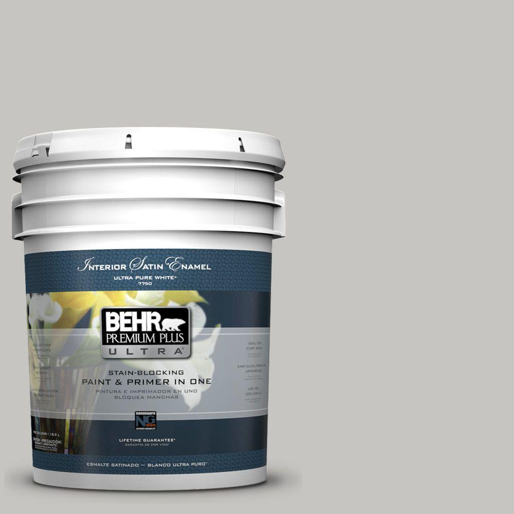 BEHR Premium Plus Ultra 5 gal. #UL260-16 Silver Sateen Satin Enamel Interior Paint and Primer in One
