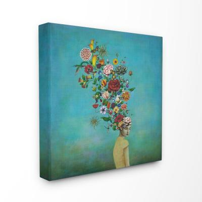"24 in. x 24 in. ""Flowers on Her Mind Bright Blue Floral Painting"" by Duy Huynh Canvas Wall Art"