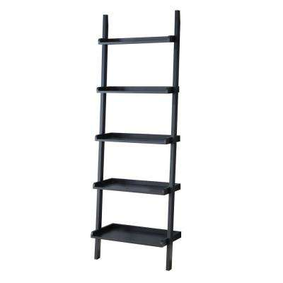 Lagger 72 in. H x 23 in. W x 13 in. D 5-Shelf Black Wall Ladder