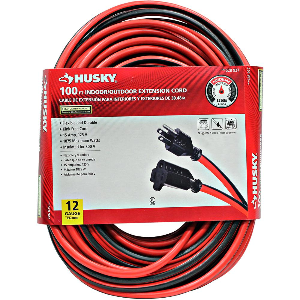 Husky 100 Ft 12 3 Indoor Outdoor Extension Cord Red And Black
