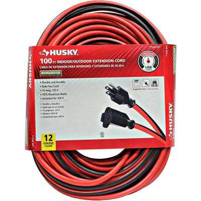 100 ft. 12/3 Indoor/Outdoor Extension Cord, Red and Black