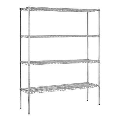 86 in. H x 60 in. W x 18 in. D 4-Shelf Chrome Steel Shelving Unit