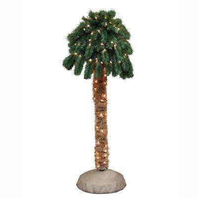 4 ft. Pre-Lit Palm Artificial Christmas Tree with Clear Lights