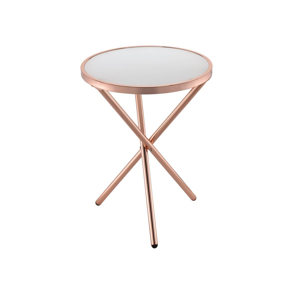Lajita Frosted Glass and Rose Gold Side Table