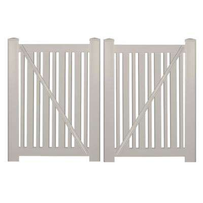 Sarasota 7.4 ft. W x 4 ft. H Tan Vinyl Pool Fence Double Gate