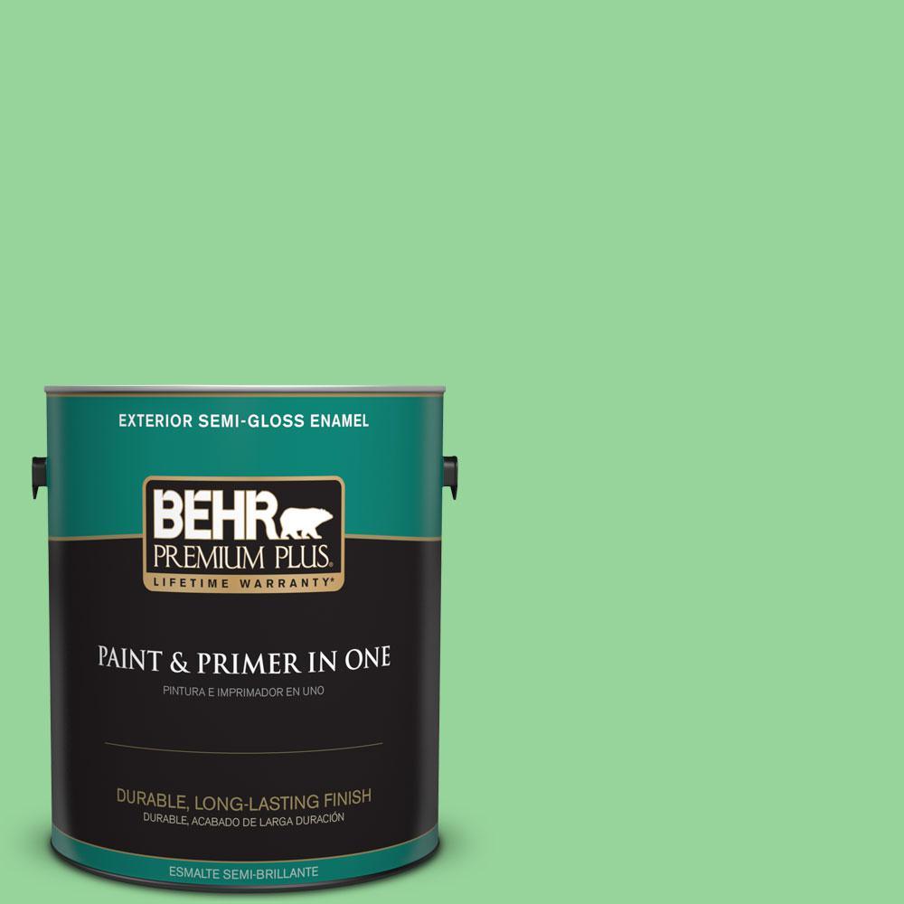 BEHR Premium Plus 1-gal. #P390-4 Young Green Semi-Gloss Enamel Exterior Paint