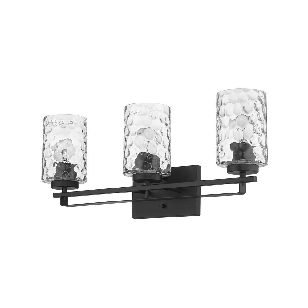 Livvy 24 in. 3-Light Matte Black Vanity Light