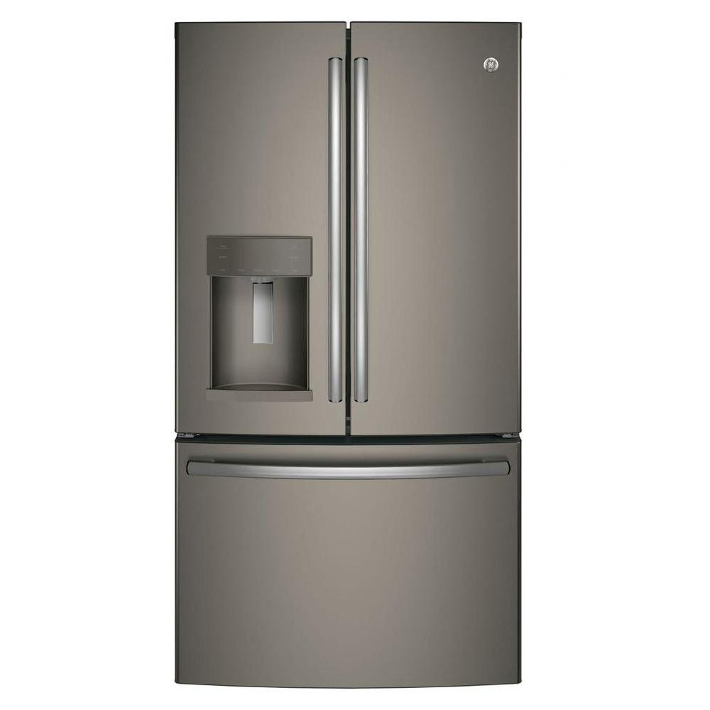 Ge 36 In W 22 2 Cu Ft French Door Refrigerator In Slate
