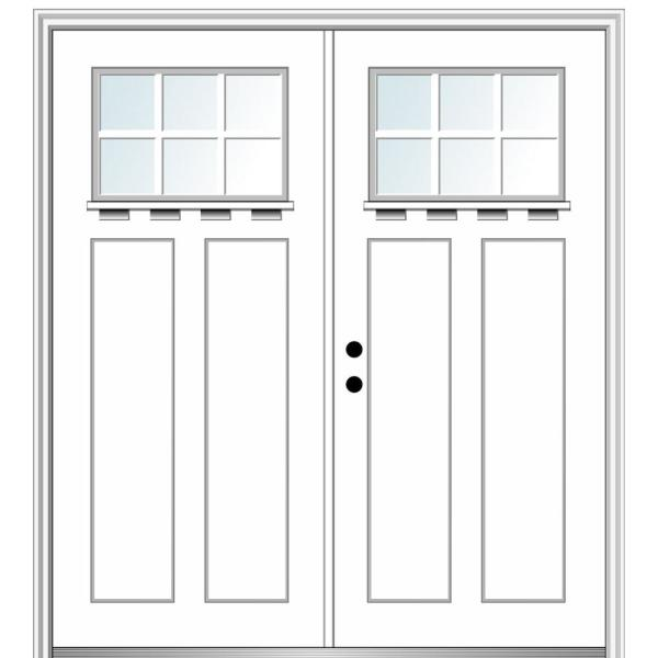 Mmi Door 64 In X 80 In Shaker Right Hand Inswing 6 Lite Clear Low E Painted Fiberglass Smooth Prehung Front Door With Shelf Z028545r The Home Depot