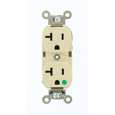 20 Amp Hospital Grade Extra Heavy Duty Self Grounding Illuminated Duplex Outlet, Ivory