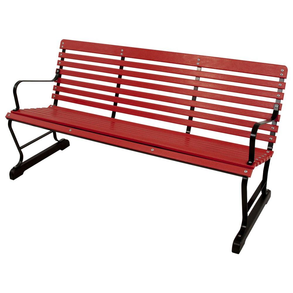 60 in. Black and Sunset Red Patio Bench