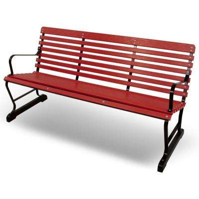 60 in. Black and Sunset Red Plastic Outdoor Patio Bar Bench