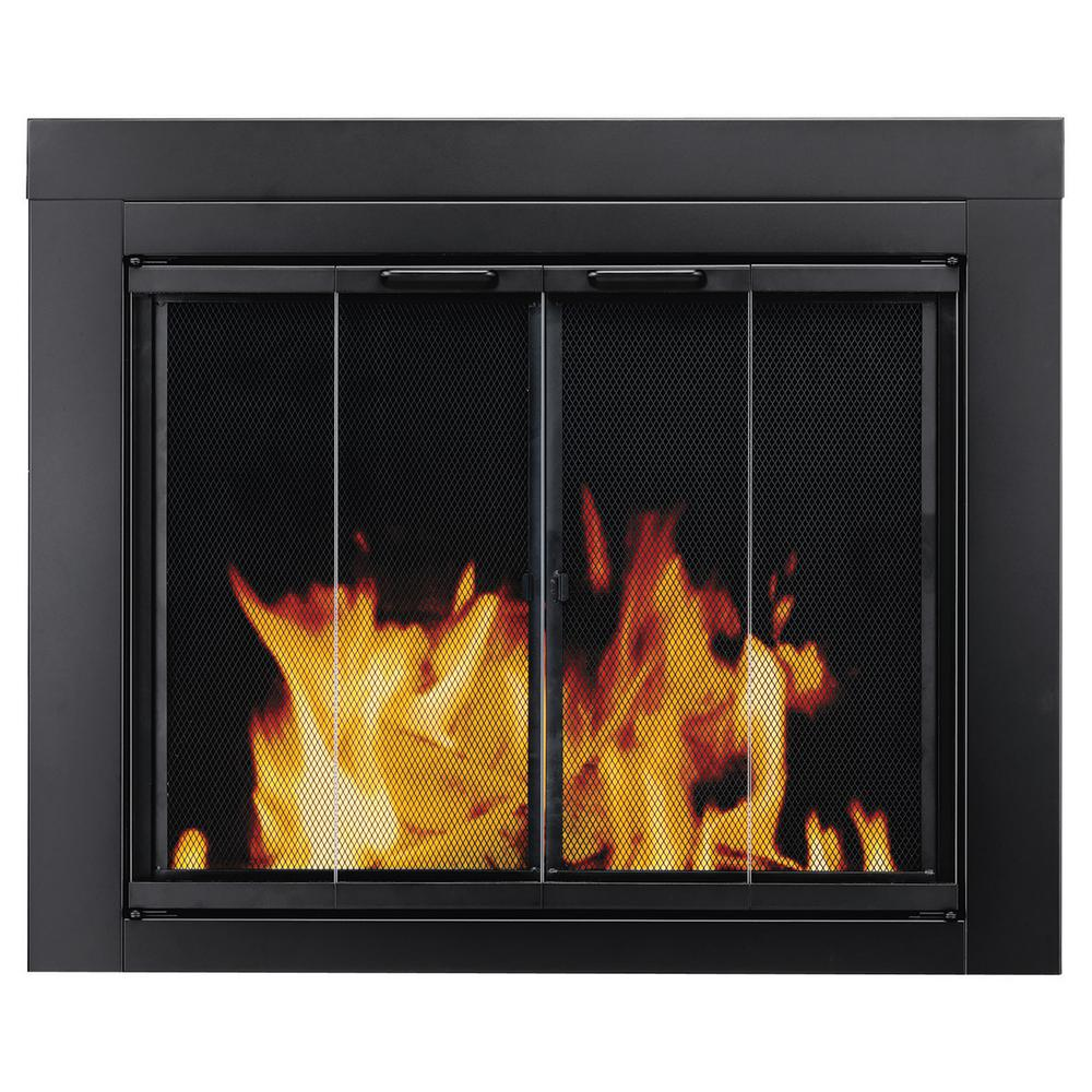 Create a distinctive look to your dwelling by adding this Pleasant Hearth Ascot Large Glass Fireplace Doors. Offers durability.