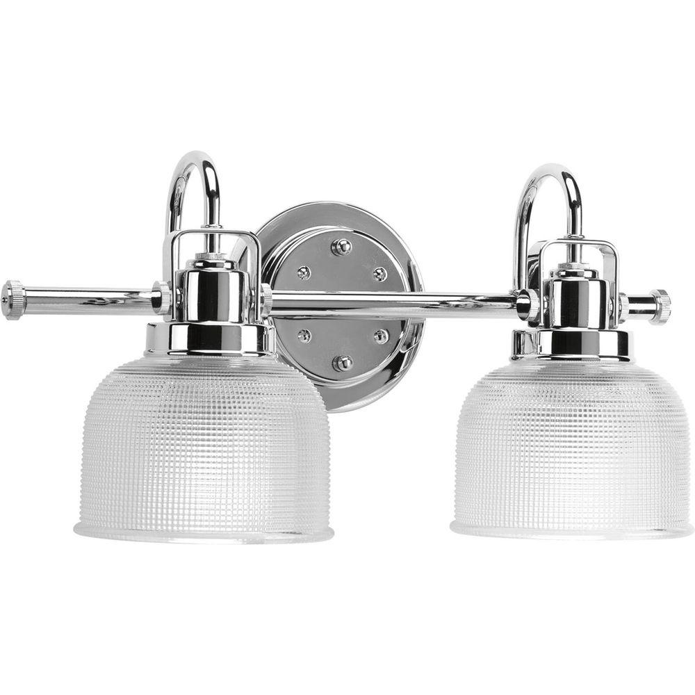 Progress Lighting Archie Collection 17 In. 2 Light Chrome Bathroom Vanity  Light With Glass