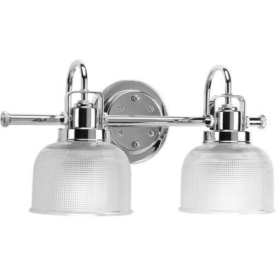 Archie Collection 17 in. 2-Light Chrome Bathroom Vanity Light with Glass Shades
