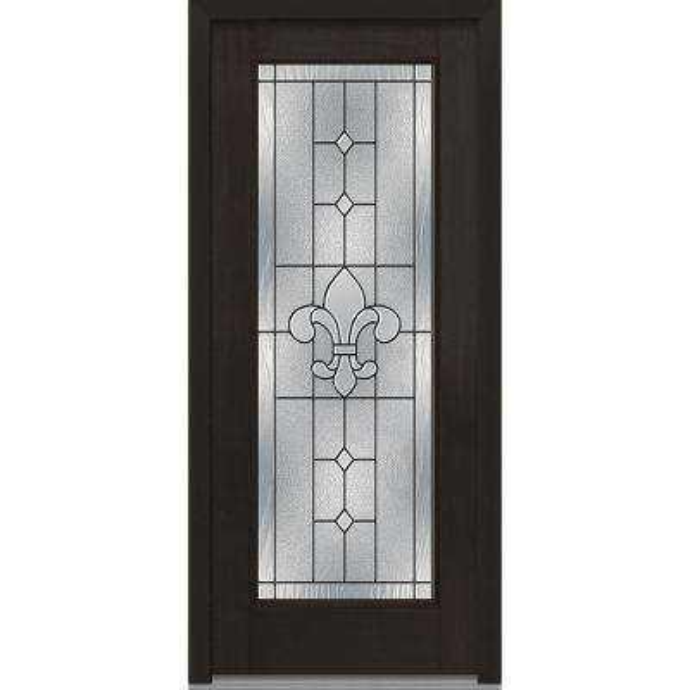 full glass exterior door. 37 5 in  x 81 75 Carrollton Decorative Glass Full Lite Mahogany Finished Fiberglass Exterior Doors With The Home Depot