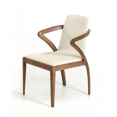 Valerie Walnut Wood and Cream Leatherette Dining Chair (Set of 1)
