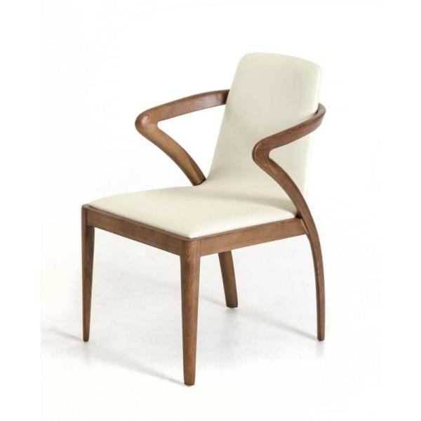 Valerie Walnut Wood and Cream Leatherette Dining Chair