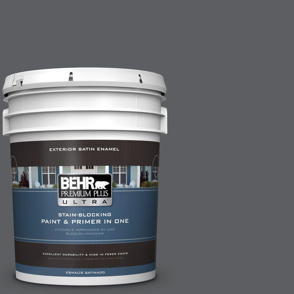 BEHR Premium Plus Ultra 5-gal. #N500-6 Graphic Charcoal Satin Enamel Exterior Paint