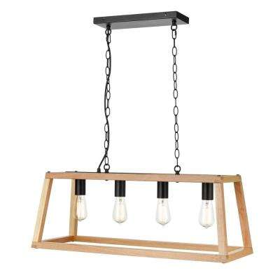 Bristol 4-Light Natural Pendant Lamp with Wood Shade