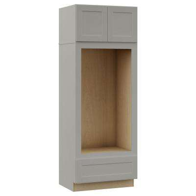 Shaker Assembled 33x90x24 in. Double Oven Kitchen Cabinet in Dove Gray