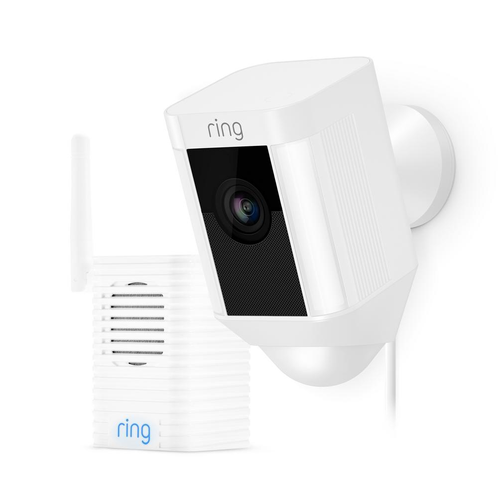 Ring Spotlight Cam Wired Outdoor Security Camera White with Chime Pro